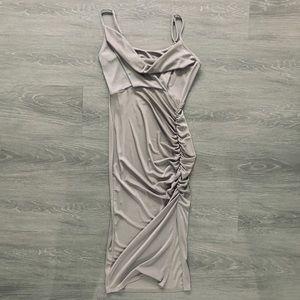 New ASOS Grey-Sheen Jersey Cocktail Dress